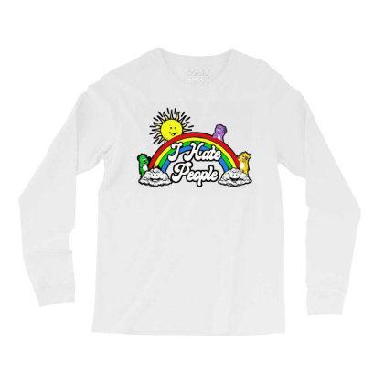 Bear Rainbow I Hate People Long Sleeve Shirts Designed By Rosdiana Tees