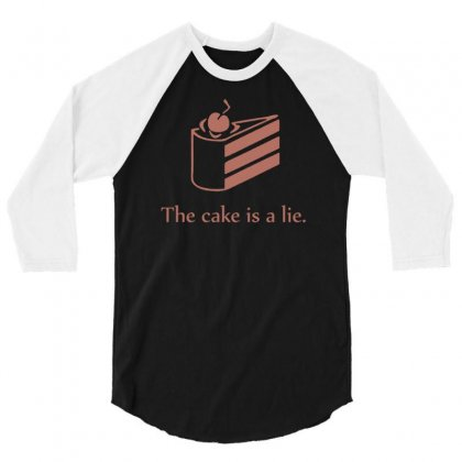 Cake Is A Lie 3/4 Sleeve Shirt Designed By Gematees