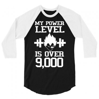 My Power Lever Is Over 9000 Vegeta Goku Dragon Ball Z 3/4 Sleeve Shirt Designed By Hezz Art