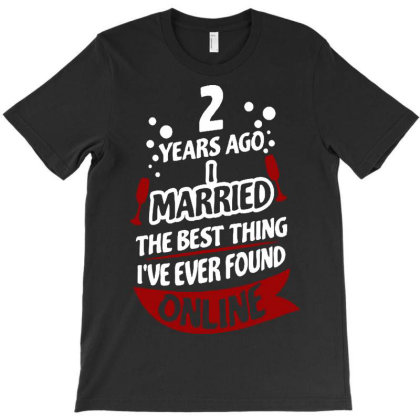 2 Years Marriage Anniversary T-shirt Designed By Hot Trends