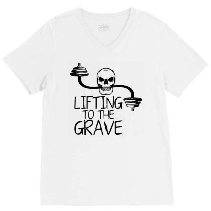 Lifting To The Grave V-neck Tee Designed By Funtee