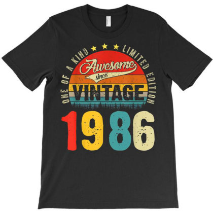 35 Years Old Distressed 1986 T-shirt Designed By Koopshawneen