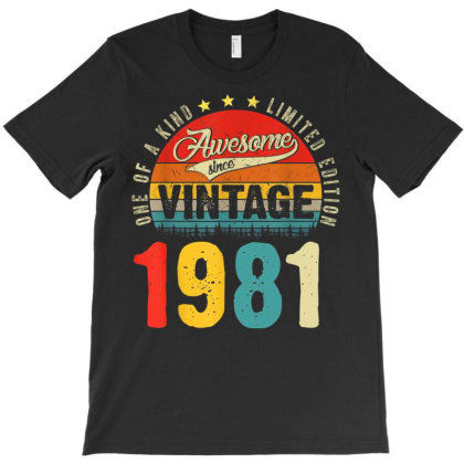 40 Years Old Distressed 1981 T-shirt Designed By Koopshawneen