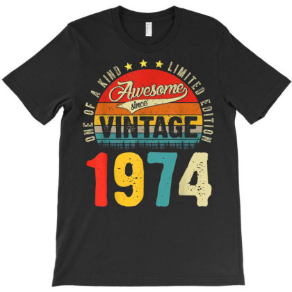 47 Years Old Distressed 1974 T-shirt Designed By Koopshawneen