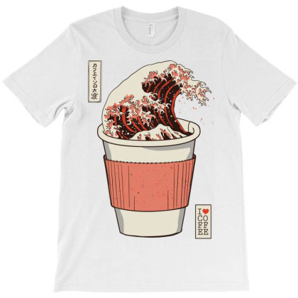 The Great Wave Of Caffeine T-shirt Designed By Koopshawneen