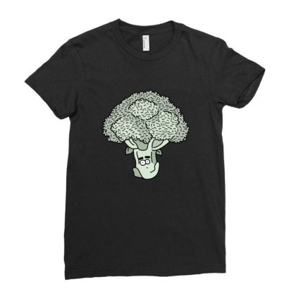 Broccoli Face Ladies Fitted T-shirt Designed By Lauraopep