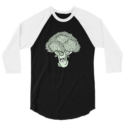 Broccoli Face 3/4 Sleeve Shirt Designed By Lauraopep