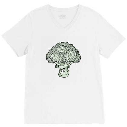 Broccoli Face V-neck Tee Designed By Lauraopep