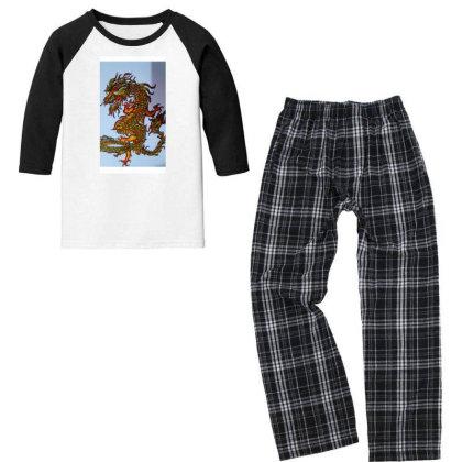 Chinese Dragon Youth 3/4 Sleeve Pajama Set Designed By Artty_1021