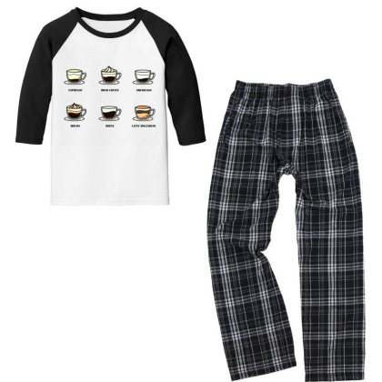 Cup Of Coffee Youth 3/4 Sleeve Pajama Set Designed By Fbranchar