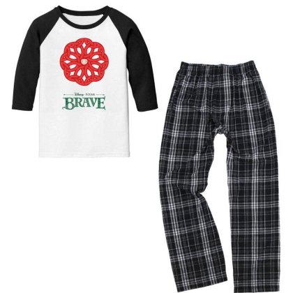 Viking Celtic Spiral Red Youth 3/4 Sleeve Pajama Set Designed By Fbranchar