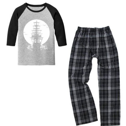 Pirate Ship Sails In Sunset Youth 3/4 Sleeve Pajama Set Designed By Oceaneyes