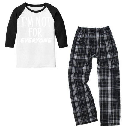 I'm Not For Everyone Youth 3/4 Sleeve Pajama Set Designed By Cogentprint
