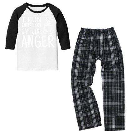 I Run Entirely On Caffeine Anger Youth 3/4 Sleeve Pajama Set Designed By Cogentprint