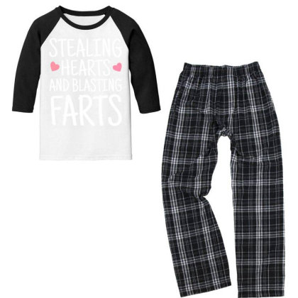 Stealing Hearts And Blasting Farts Youth 3/4 Sleeve Pajama Set Designed By Cogentprint