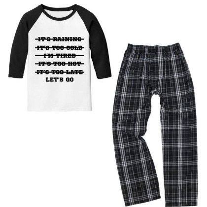 Let's Go - Motivational Gift Sayings Youth 3/4 Sleeve Pajama Set Designed By Diogo Calheiros