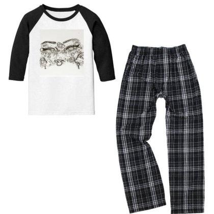 Beautiful Eyes/sketch Eyes Youth 3/4 Sleeve Pajama Set Designed By Artty_1021