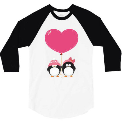 Lovers Penguins 3/4 Sleeve Shirt Designed By Şen