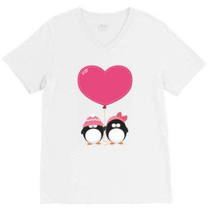 Lovers Penguins V-neck Tee Designed By Şen