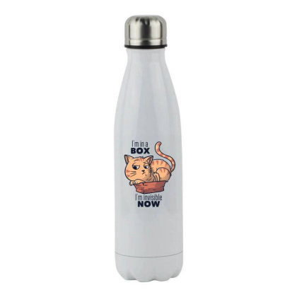 I'm In A Box, I'm Invisible Now Funny Cat Gift Stainless Steel Water Bottle Designed By Eduely
