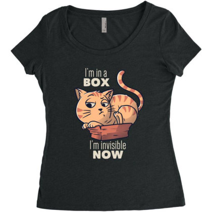 I'm In A Box, I'm Invisible Now Funny Cat Gift Women's Triblend Scoop T-shirt Designed By Eduely