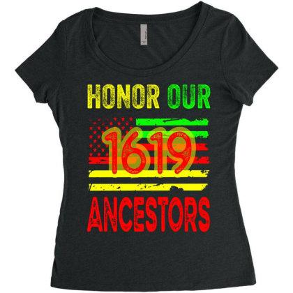 1619 Honor Our Ancestors Black History Africa Women's Triblend Scoop T-shirt Designed By Grafixbychawki
