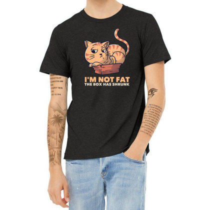 I'm Not Fat The Box Has Shrunk Funny Cat Gift Heather T-shirt Designed By Eduely