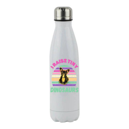 I Raise Tiny Dinosaures Stainless Steel Water Bottle Designed By Grafixbychawki