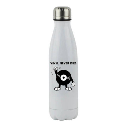 Vinil Never Dies Stainless Steel Water Bottle Designed By Zig Street