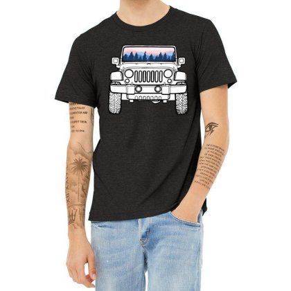 Sunset Jeep Heather T-shirt Designed By Daddy's Shop
