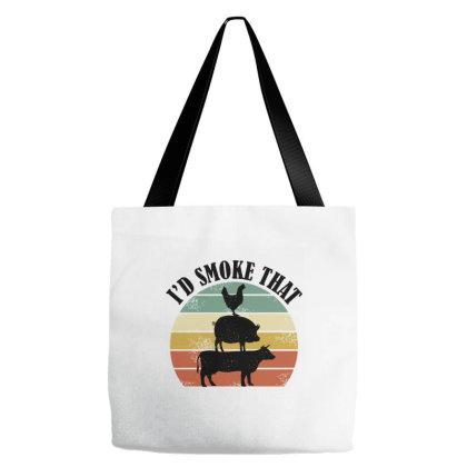 I'd Smoke That  Vintage Retro Farm Animals Tote Bags Designed By Brave Tees