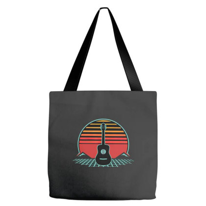Acoustic Guitar Retro Vintage 80s Player Musician Tote Bags Designed By Richard Art