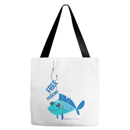 Free Piercing Fish Tote Bags Designed By Kahvel
