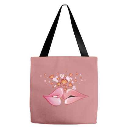 Heart Pink Lips Tote Bags Designed By Şen