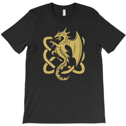 Celtic Dragon Irish Folk Dragon T-shirt Designed By Enjang
