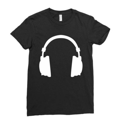 Headphone Ladies Fitted T-shirt Designed By Fahmifutri