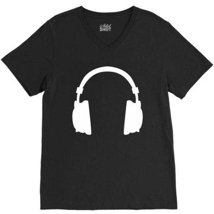 Headphone V-neck Tee Designed By Fahmifutri