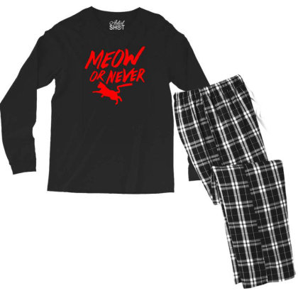Meow Or Never Men's Long Sleeve Pajama Set Designed By Prakoso77