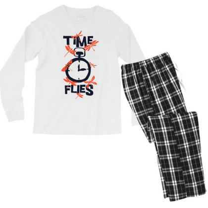 Time Flies Men's Long Sleeve Pajama Set Designed By Kahvel