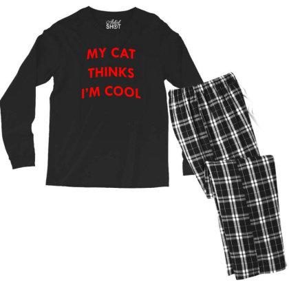 My Cat Thinks I'm Cool Men's Long Sleeve Pajama Set Designed By Prakoso77
