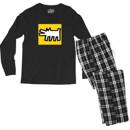 Keith Haring Dog Art Men's Long Sleeve Pajama Set Designed By Ratna Tier