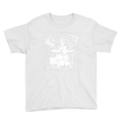 King Kong Playing Drums 01 Youth Tee Designed By Wowotees