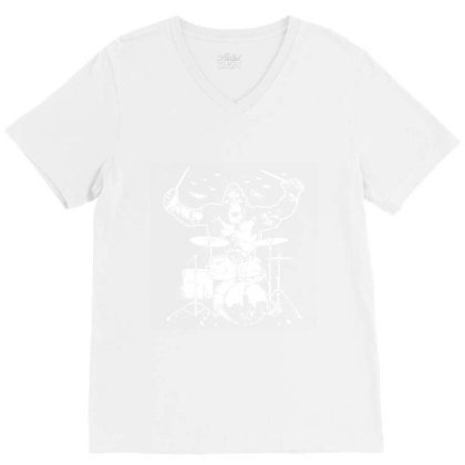 King Kong Playing Drums 01 V-neck Tee Designed By Wowotees