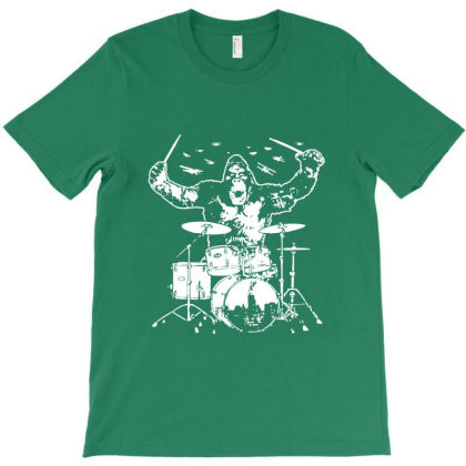 King Kong Playing Drums 01 T-shirt Designed By Wowotees