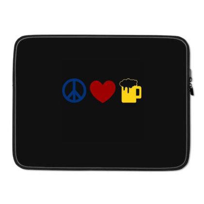 Peace,love,beer Laptop Sleeve Designed By Suryanaagus