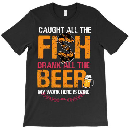 Caught Al The Fish Beer T-shirt Designed By Rardesign
