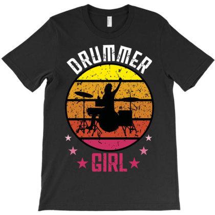 Drummer Girl T-shirt Designed By Rardesign