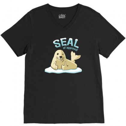 Seal Of Approval V-neck Tee Designed By Gematees