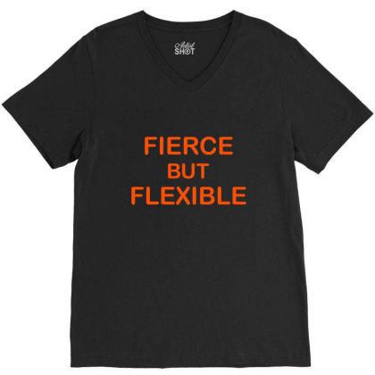Fierce & Flexible V-neck Tee Designed By Chiks