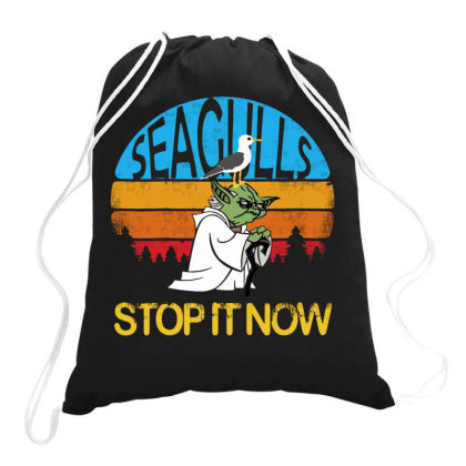 Seagulls Stop It Now - Retro Vintage Drawstring Bags Designed By Blqs Apparel